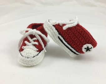 Crochet Converse Style/Chucks Baby Booties. UK Size 2 (Up to 6 Months) - Red