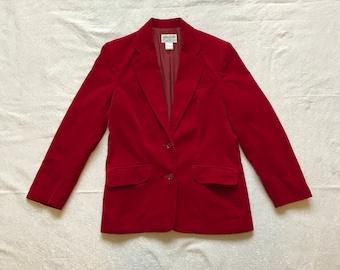Vintage Burgundy Red Velvet Paula Brooks Original Valentines Day Blazer Jacket Coat Small Size 12