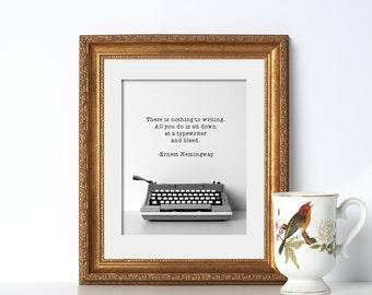 Ernest Hemingway Typewriter Digital Download Printable Art Summer Print Coastal Decor Beach Writing Quote Print Office Prints Home Office