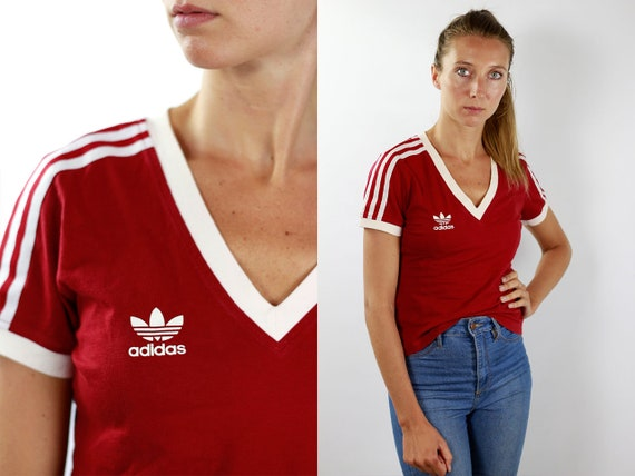 Adidas T-Shirt Red Vintage Adidas T-Shirt Adidas Retro T-Shirt Adidas T-Shirt Vintage T-Shirt Red T-Shirt 90s Adidas Shirt Adidas Top Retro