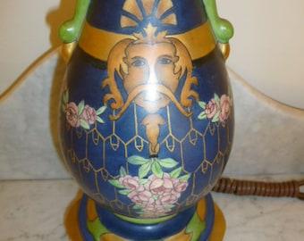 Antique French Art Nouveau porcelaine polychrome table lamp signed LEONE circa 1910