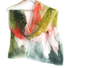 Hand Painted Green Orange Silk Scarf with Large White Flowers, Long  Luxury Silk Scarf, Women Silk Accessory, Wrapped Autumn Silk Scarf