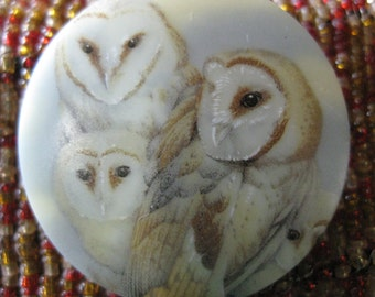 Barn Owl Family Czech Glass Button 42mm