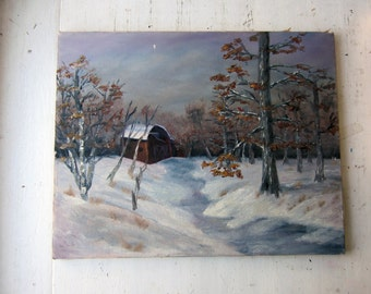 Vintage Oil Painting - Winter Country Landscape - Barn