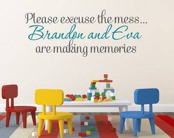 Please Excuse The Mess Personalized Decal Wall Decals for Kids Playroom decor Nursery Decor Wall Decals for Nursery