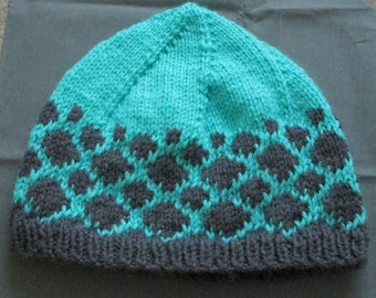 Teal and Gray Spotted Knit Hat