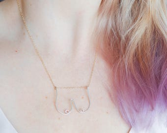 Boobs Necklace, Feminist Necklace, Gift for Her, Feminist Jewelry, Gold Chain Necklace, Minimalist Necklace, Simple Gold Necklace