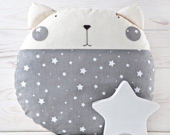 Moon Pillow, Stars Nursery Decor, Cat Toy, Decorative Baby Pillow for Kids Room, Gray Cushion, Cute Animal Pillow, Baby Shower Gift