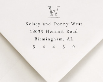 Monogram Return Address Stamp - WOOD HANDLE - hand printed style - Wedding gift - Kelsey and Dustin Design