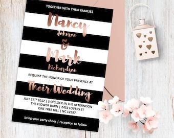 Rose Gold Wedding Invitation Modern Wedding Invitation Elegant Wedding Invitation Minimalist Wedding Invitation Striped Invitation Printable