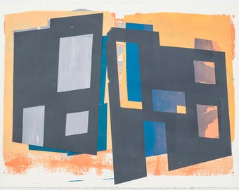 One-of-a-kind, matted and framed, ORIGINAL Fine Art silkscreen print and collage, by Dominic Montwori