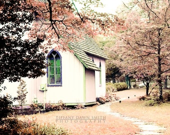 Pink Landscape, Church Photograph, Country Chapel, Dreamy Artwork, Winding Path, Pastel Print, trees faith religion window pathway Picture