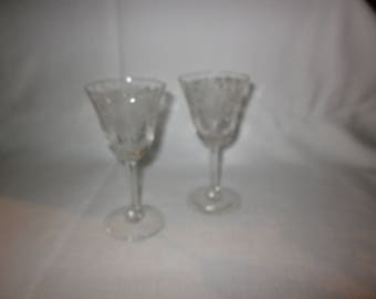 Pair vintage etched glass cordials, sherry glasses, clear etched glass