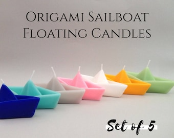 Handmade floating Candles Origami Sailboats Centerpiece Party Favors Events Decor Nautical Home Decor