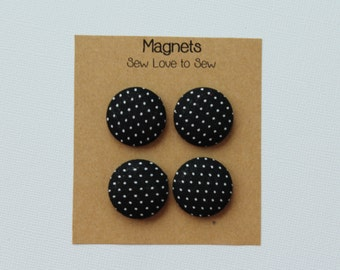 Fabric Covered Button Magnets / White Polka Dots on Black Magnets / Polka Dot Magnets / Strong Magnets / Refrigerator Magnets