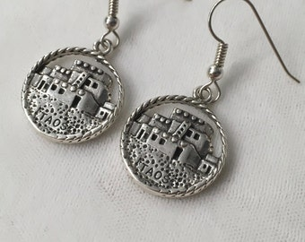 Taos New Mexico Dwelling Earrings Sterling Silver Dangle Drop 8.8 Grams American Indian Home Southwestern Rock House
