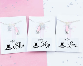 Ballerina Name Necklace, Kid's Initial Necklace, Ballet Jewelry, Kids Dance Gifts, Name Jewellery, Girls Gift, Ballet Slipper Charm, Cute