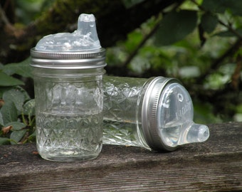 Canning Jar Glass Sippy cup - quilted