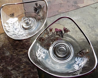 Silver City Flanders Glass Candle Holders, Mid-Century Crystal with Silver Overlay Poppy Flowers, Elegant Glassware Candlestick Holder Dish