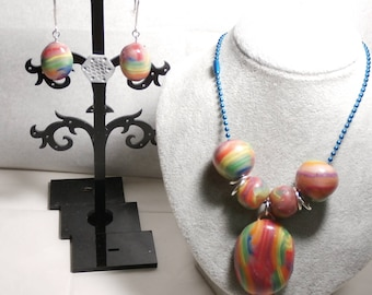 Rainbow Delight OOAK Polymer clay Necklace Earring Set Choice of Chain