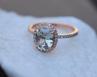 Sage Green Sapphire ring. Diamond Ring. 14k rose gold engagement ring. Oval engagement ring. Halo ring by Eidelprecious
