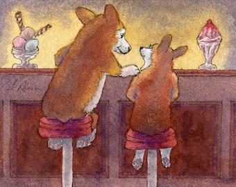 Gallois art chien 8 x 10 Corgi - secrets et coupes glacées glace bar tabouret amis knickerbocker gloire dessert sucré