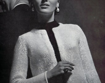 Beaded Sequin Evening Jacket Vintage Knitting Reproduction Pattern 1960's Bust Size 32-36 Inches Instant Download PDF