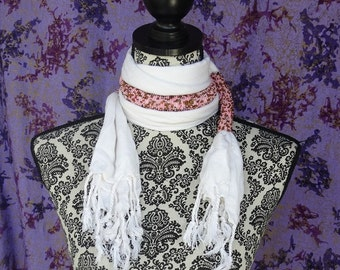 Beaded Masai Scarf, Beaded Statement Necklace, African Scarf, White Accessories