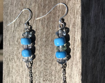 Glass and czech glass beaded earrings