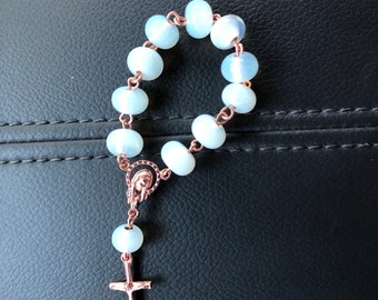 Copper and Rose Gold plated pocket rosary w/ opal moonstone white glass beads
