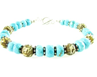 Blue Turquoise & Carved Nepal Shell Beads Bracelet