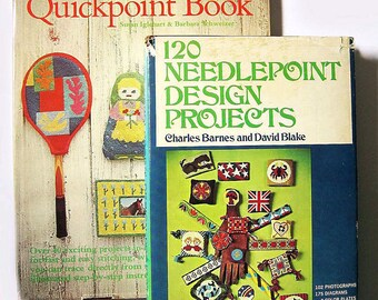 vintage hippie needlepoint books, Quickpoint and 120 Needlepoint Design Projects, retro, 1970's, great for plastic canvas
