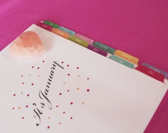 A5 January - December Organizer Index Tab Dividers - DOTTY Design Colour Printed Both SIdes