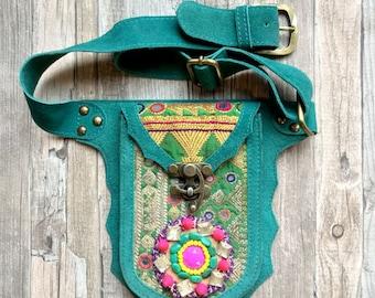 Gypsy leather Hip Bag, Festival Bag, boho fanny pack, waist bag by Dazzling Gypsy Queen