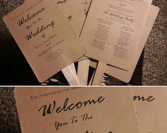 Rustic Wedding Program Fans - Kraft Wedding Program Fans - Printed Ceremony Fan for Weddings