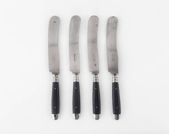 Mid Century Knives Silver Plated with Black Handle by Solingen Lot of 4