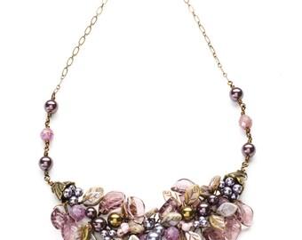 Purple Bib Necklace, Floral Burgundy Vintage Style Necklace, Purple Bridal Necklace, Boho Necklace, Leaf Necklace, Nature Jewelry
