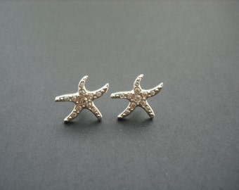 Rhinestone Crystal Starfish Earrings, Studs
