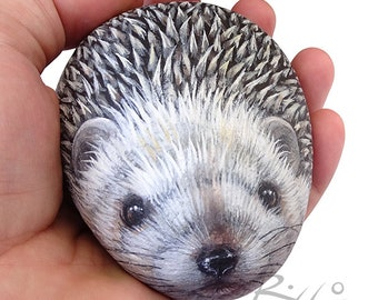 Cute Rock Painted Hedgehog | Fine Detailed Hand Painted Stone | The Art of Painting Rocks by Roberto Rizzo