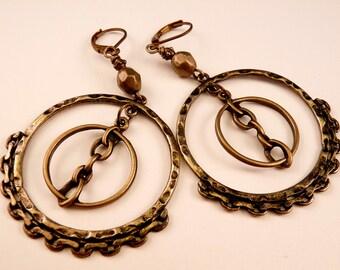 Chain Earrings Brass Earrings Beaded Earrings Brass Jewelry Beaded Jewelry Metal Earrings Brass Dangles Beaded Dangles