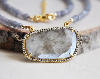 Sapphire Necklace, Natural Stone, Gemstone Necklace, Jade Necklace, Short Necklace, Gray Necklace, Boho Chic Necklace, Stone Necklace,