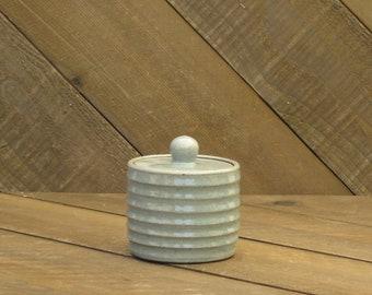 Jar - Sugar Jar - Ceramic Jar - Ceramic Sugar Bowl - Celadon - Handmade - Carved Jar - Reduction - Go Play Clay - Guiliotis - Ready to Ship