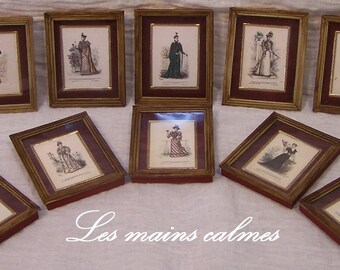 Glass frame old fashion engraving Miniature 10eme and 12eme