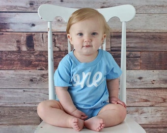 Boy's One Year Old First Birthday Bodysuit - Baby Photo Prop - One Piece
