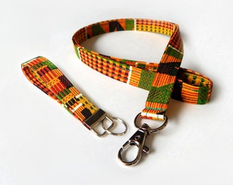 African Kente Lanyard Set / Rasta / Tribal Keychain / Red Yellow and Green / Key Lanyard / ID Badge Holder / Fabric Lanyard / Key Fob