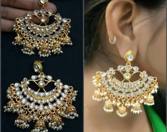 Indian Jhumki/Jhumka Earrings,Gold Plated Jhumka/Jhumki,Cubic Zircon Jhumka,Bollywood,Ethnic,Indian Chandelier Earring,Indian Bridal Jewelry