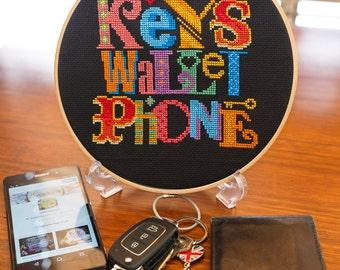 Keys Wallet Phone Reminder - Cross Stitch Pattern - Digital PDF Downloadable Pattern