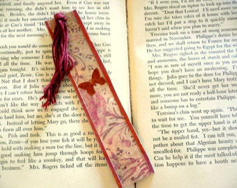 Beautiful Handmade Bookmark with Flowers, Plants and a Butterfly.