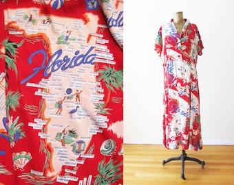 Vintage Florida Map Dress - Florida Novelty Print Rayon Dress - 90s Clothing - 40s Dress - Red Maxi Sundress L XL - Tropical Summer Dress
