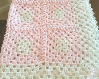 Crochet white and pink  baby girl blanket w/ pink ribbon